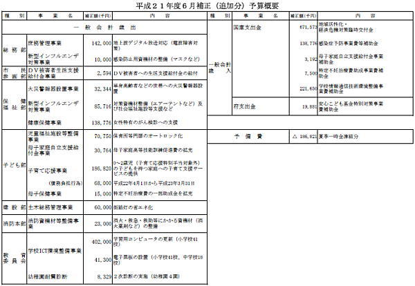 平成21年6月29日市議会へ提出した案件の主要内容