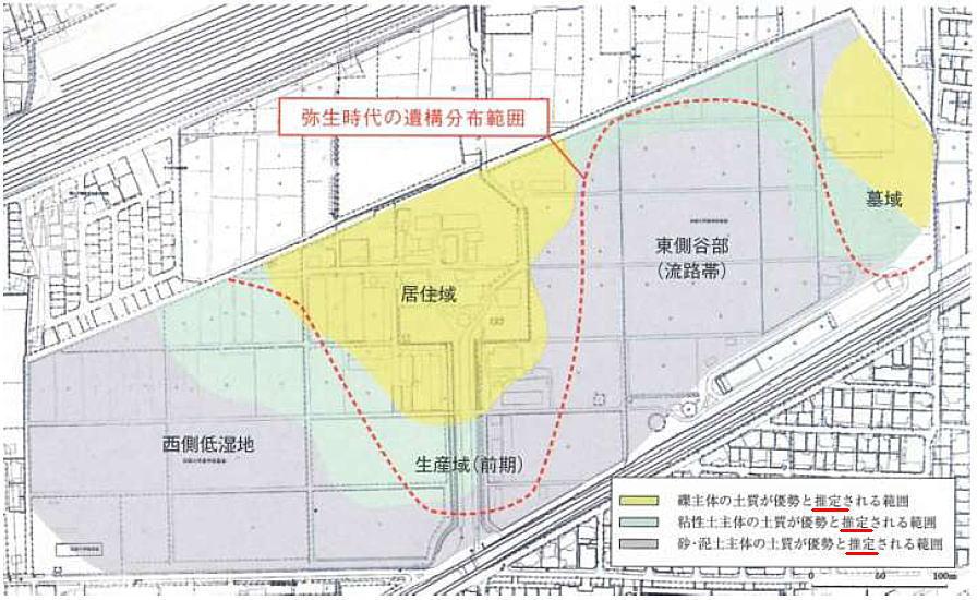 京都大学農場の遺跡の分布と史跡指定範囲