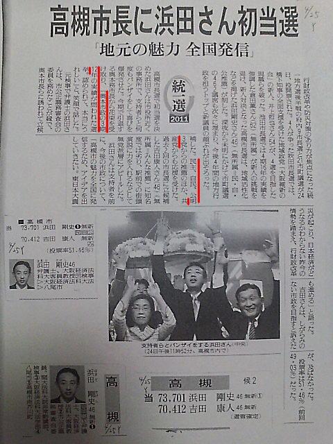 平成24年4月の高槻市長選挙についての報道1
