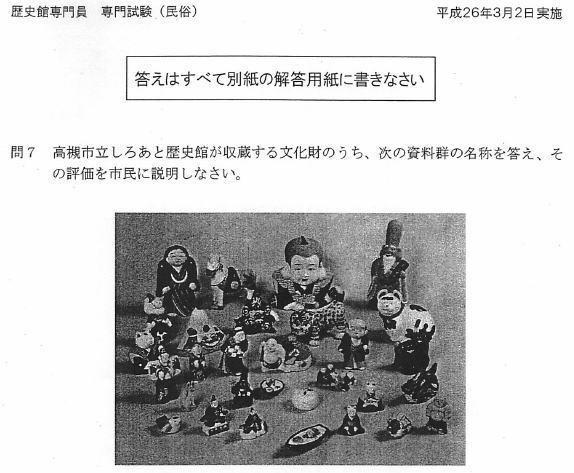 高槻市の歴史館専門員(しろあと歴史館・民俗担当)の試験問題・問7