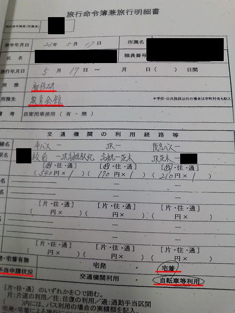 虚偽が記載された旅行命令簿兼旅行明細書